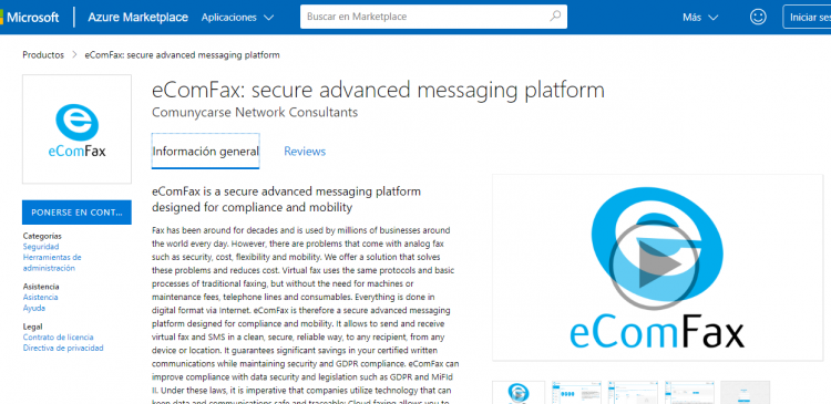 eComFax now available in Microsoft® Azure and Microsoft® AppSource marketplaces